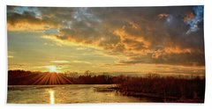 Sunset Over Marsh Beach Sheet by Bonfire Photography