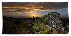 Sunset Over Marsh Beach Sheet by Joe Belanger