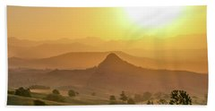 Beach Towel featuring the photograph Sunset Over Mt Sugarloaf by Keiran Lusk