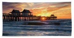Beach Sheet featuring the photograph Sunset Over Naples Pier by Brian Jannsen