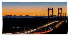 Sunset Over Narrrows Bridge Panorama Beach Towel