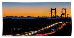 Sunset Over Narrrows Bridge Panorama Beach Towel