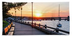 Sunset Over Newburyport Ma Merrimack River Newburyport Turnpike Beach Towel