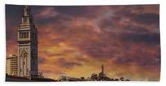 Sunset Over Port Of San Francisco Ferry Building Beach Towel