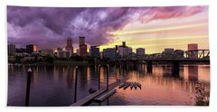 Sunset Over Portland Oregon Downtown Waterfront Beach Towel