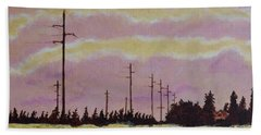 Sunset Over Powerlines Beach Towel