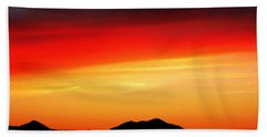 Beach Sheet featuring the photograph Sunset Over Santa Fe Mountains by Joseph Frank Baraba