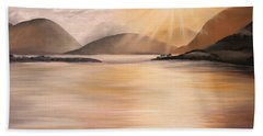 Beach Towel featuring the painting Sunset Over Scottish Loch by Elizabeth Lock