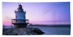 Sunset Over Spring Breakwater Lighthouse In South Maine Beach Sheet