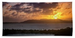 Beach Towel featuring the photograph Sunset Over St. Thomas by Adam Romanowicz