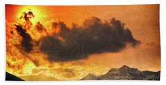 Beach Sheet featuring the photograph Sunset Over The Alps by Silvia Ganora