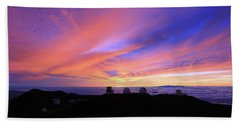 Sunset Over The Clouds Beach Towel