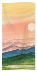 Sunset Over The Hills Beach Towel