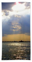 Sunset Over The Hudson 3 Beach Towel by Randall Weidner