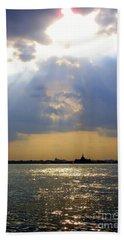 Sunset Over The Hudson 3 Beach Sheet