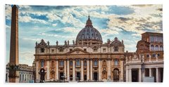 Sunset Over The Papal Basilica Of Saint Peter Beach Towel