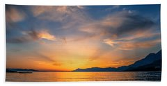 Sunset Over The Sea Beach Towel by Lana Enderle