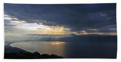 Sunset Over The Sea Of Galilee Beach Sheet
