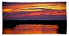 Sunset Over The Tomoka Beach Towel by DigiArt Diaries by Vicky B Fuller