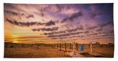Sunset Over The Walkway. Beach Towel