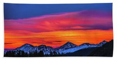Sunset Over Torreys And Grays Peaks Beach Sheet