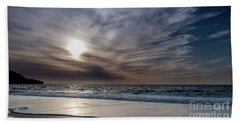 Sunset Over West Coast Beach With Silk Clouds In The Sky Beach Towel