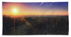 Sunset Over Wisconsin Treetops At Lapham Peak  Beach Towel by Jennifer Rondinelli Reilly - Fine Art Photography