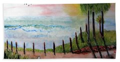Beach Towel featuring the painting Sunset Overlook by Sandy McIntire