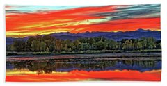 Beach Towel featuring the photograph Sunset Ponds by Scott Mahon