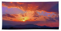 Sunset Rays At Smith Mountain Lake Beach Towel