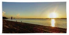 Sunset Reflecting On The Uruguay River Beach Sheet
