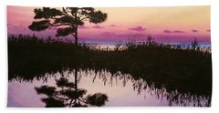 Beach Towel featuring the painting Sunset Reflection by Amelie Simmons