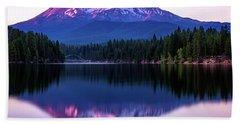 Sunset Reflection On Lake Siskiyou Of Mount Shasta Beach Sheet