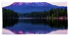 Sunset Reflection On Lake Siskiyou Of Mount Shasta Beach Towel