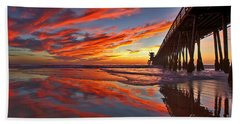 Sunset Reflections At The Imperial Beach Pier Beach Sheet