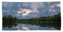Beach Towel featuring the photograph Sunset Reflections by Lori Coleman