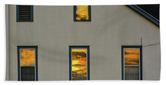Sunset Reflections On Chapel Beach Towel