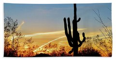 Sunset Saguaro In The Spring Beach Towel