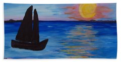 Sunset Sail Dark Beach Sheet by Barbara McDevitt