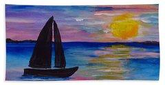 Sunset Sail Small Beach Towel