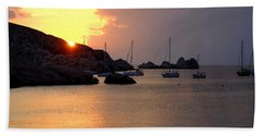 Sunset Sailing Boats Beach Towel