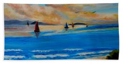 Sunset Sailing Beach Towel