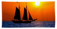 Sunset Sailing In Key West Florida Beach Towel