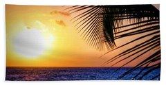 Sunset Salute In Aruba Beach Towel