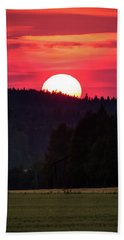 Sunset Scenery Beach Towel by Teemu Tretjakov