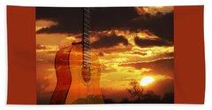 Sunset Serenade On Guitar Beach Towel