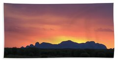 Beach Towel featuring the photograph Sunset Silhouette Of Kata Tjuta In The Northern Territory by Keiran Lusk