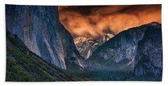 Sunset Skies Over Yosemite Valley Beach Sheet by Rick Berk