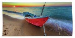 Sunset Skiff Beach Towel