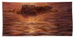 Sea Otters Floating With Kelp At Sunset - Coastal Decor - Ocean Theme - Beach Art Beach Towel